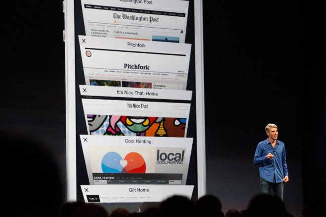 Apple's Craig Federighi introduces new features of iOS 7 at WWDC in June. Photo: Alex Washburn/WIRED