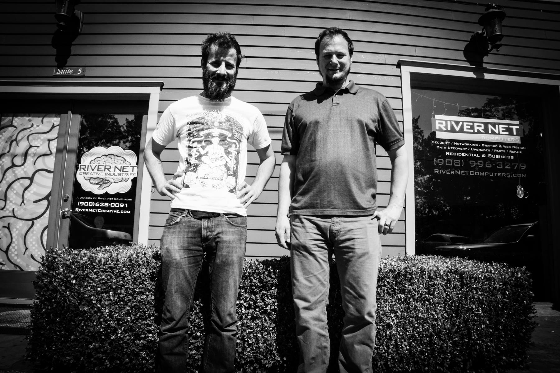 Dave Cahill, pictured with his brother James Cahill. Dave and Jim are co-owners of River Net Computers in Frenchtown, N.J.