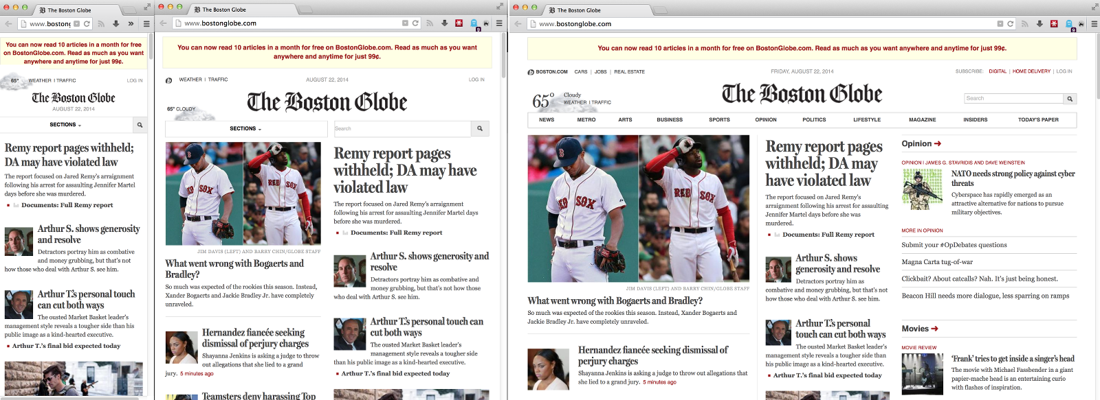 The Boston Globe website at phone, tablet, and desktop sizes.