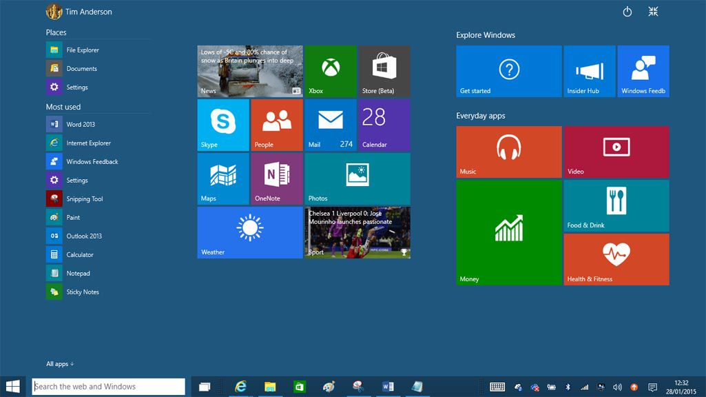 The full screen Start menu is different and more cluttered than in Windows 8