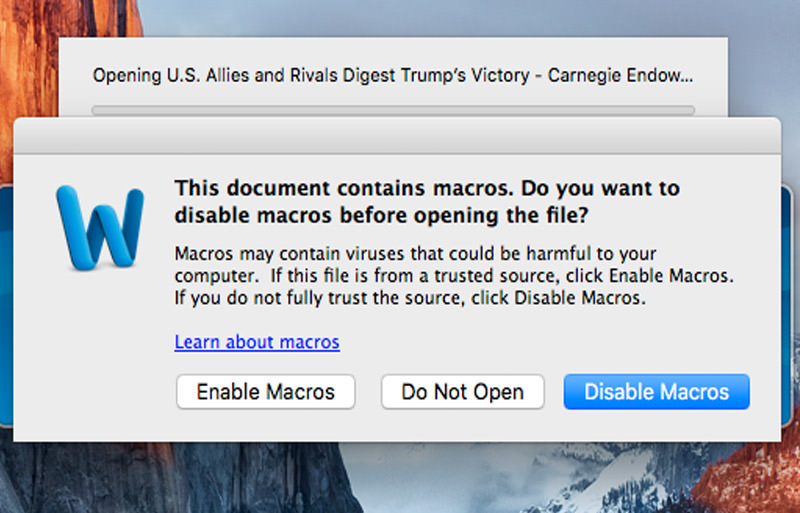 Apple Users Beware: This Malware Uses MS Word to Infect macOS