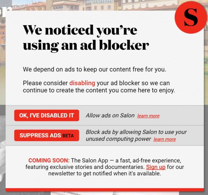 Salon to ad blockers: Can we use your browser to mine cryptocurrency?