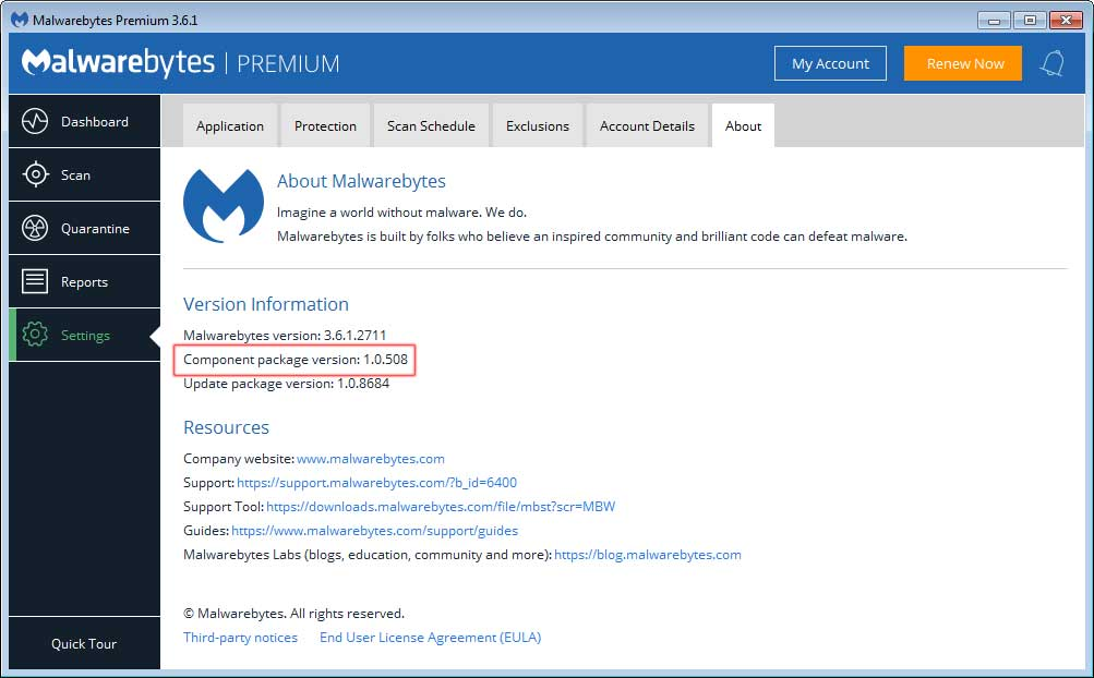 Malwarebytes Component Package Version 1.0.508